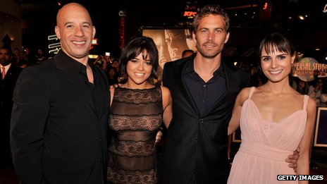 Walker with co-stars Vin Diesel, Michelle Rodriguez and Jordana Brewster