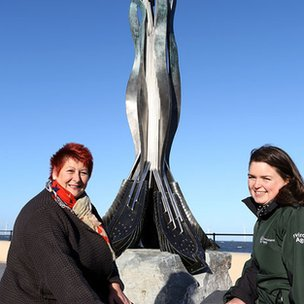 Councillor Olwyn Peters and Environment Agency's Donna Robinson beside Lifeline