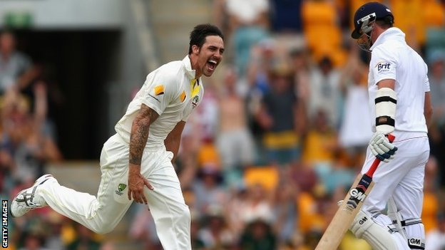 Mitchell Johnson celebrates dismissing Graeme Swann