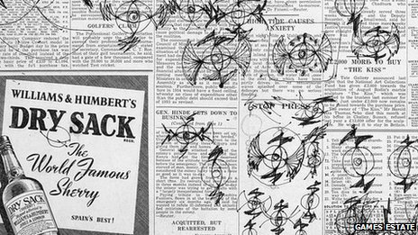 Doodles by Abram Games on a sheet of newspaper, showing early versions of his BBC TV symbol, which was later said to look like a bat