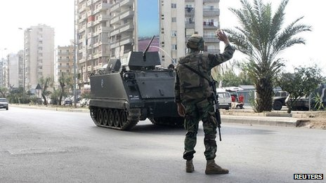 Lebanese soldier in Tripoli. 30 Nov 2013