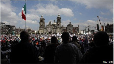 Protest at Mexico City's Zocalo square