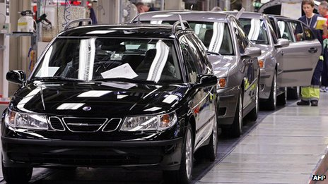 Cars at production line in Saab factory in Sweden