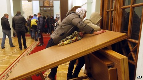 Protesters in Kiev city hall. 2 Dec 2013