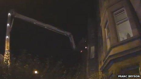 Tenement flat and crane