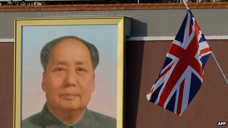 A union flag is displayed near a portrait of late Chinese leader Mao Zedong