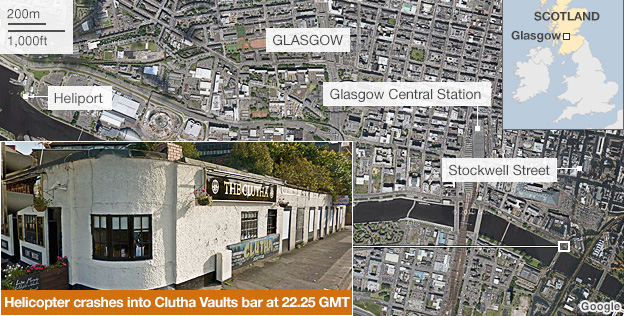 Satellite images showing the location of the helicopter crash in Glasgow