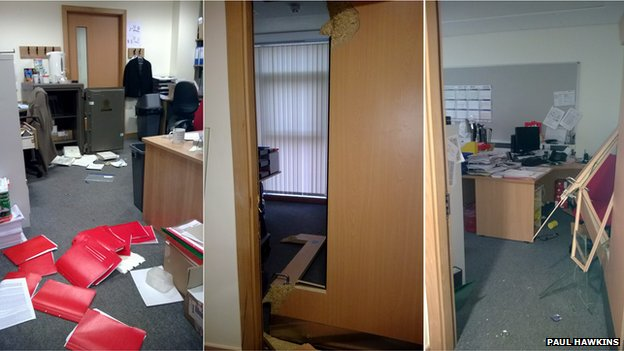 The damage inside Epping St John's School