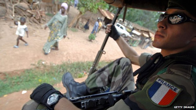 A French soldier sits in a mobile patrol in Bangui, Central African Republic, in this file photo from July 2007.
