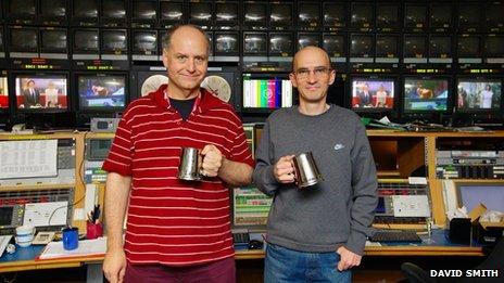 Richard Vermuelen and Paul Zielinski finish the last broadcast operation shift in TVC