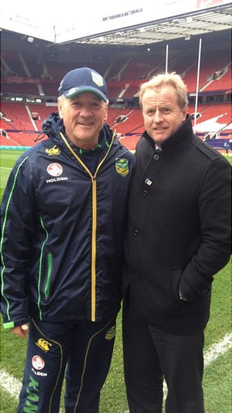 David Smith with Australia rugby league team coach Tim Sheens.