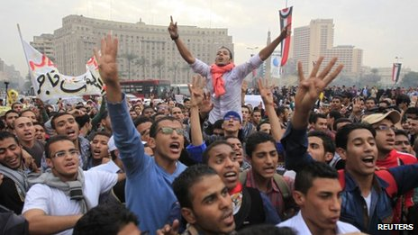 Morsi supporters in Tahrir Square on 1 December 2013