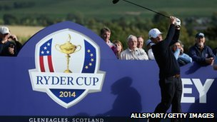 Ryder Cup captain Paul McGinley tees off at Gleneagles to mark one year to the 2014 event
