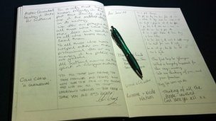 The book of condolence at Glasgow City Chambers