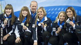 Scotland's women's curling team show off their European silver medals