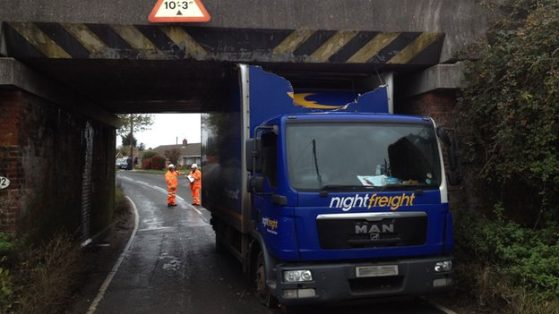 Lorry stuck under bridge in Bacton, Suffolk