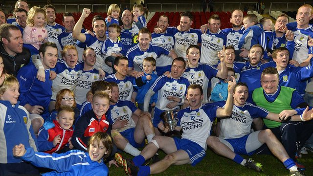 Ballinderry Shamrocks celebrate winning the Ulster Club Football Championship