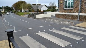 A pedestrian crossing in Guernsey