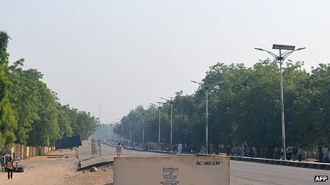 No traffic is visible on Kashim Ibrahim Way in the heart of Maiduguri on 02/12/2013