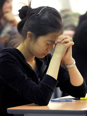 The anxious moments before a college entrance exam in Seoul