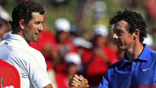 Adam Scott and Rory McIlroy