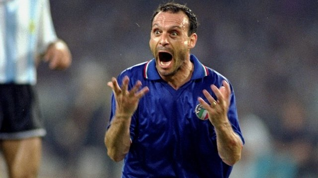 Italy's Salvatore Schillaci celebrates scoring against Argentina at the 1990 World Cup
