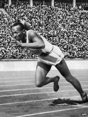 A file picture taken on 5 August 1936 shows US champion Jesse Owens powering his way at the start of the 200m event which he won
