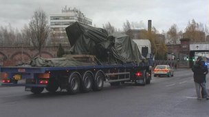 Helicopter on low loader