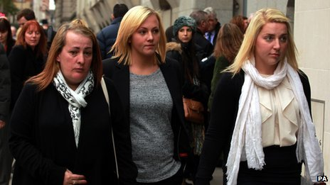 "Lee Rigby""s mother Lyn Rigby, sister Sara McClure and fiancee Aimee West"