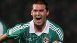 David Healy scores an equaliser against Azerbaijan