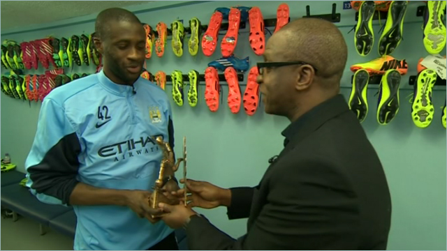 Yaya Toure being presented with the 2013 BBC African Footballer of the Year Award