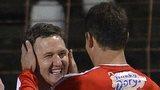 Gary Breen congratulates Portadown goal-scorer Gary Twigg