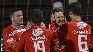 Darren Murray and Gary Twigg scored Portadown's goals at the Oval