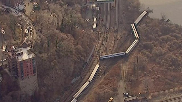 Aerial view of derailed train