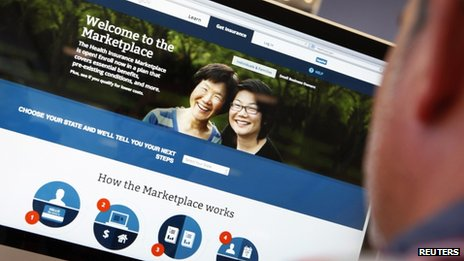 A man looks over the Affordable Care Act signup page on the HealthCare.gov website on 2 October 2013