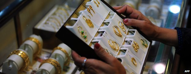 Gold jewellery on display