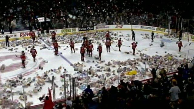 Teddy bears on an ice hockey rink