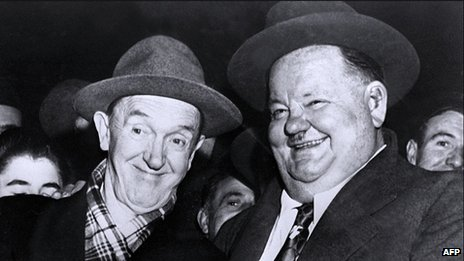 Stan Laurel and Oliver Hardy in 1950