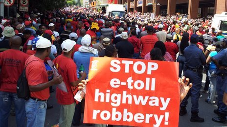 Thousands of South Africans on the streets protesting against government plans to introduce new tolls on roads and the practice of labour-brokering