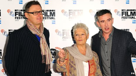 Jeff Pope with Dame Judi Dench and Steve Coogan