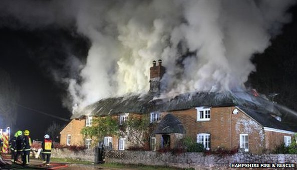 Fire in Brockenhurst village, Hampshire