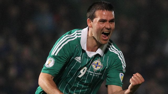 David Healy celebrates scoring against Azerbaijan