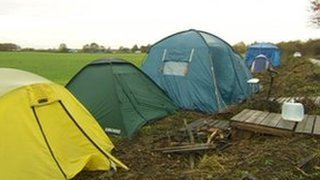 Anti-fracking campaigners have set up a protest camp on land in Salford