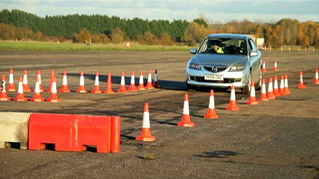 A car is stopped by a device which uses electromagnetic waves
