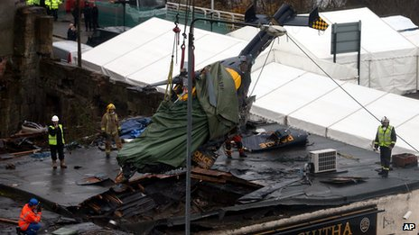 The helicopter that crashed into a Glasgow pub being lifted clear