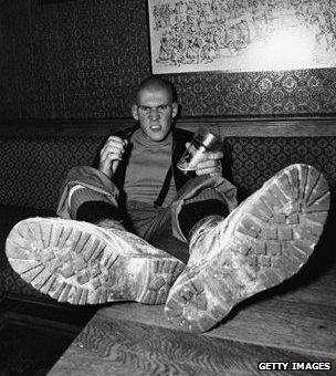 Skinhead in pub