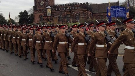 2nd Battalion Duke of Lancaster's Regiment homecoming parade in Huyton