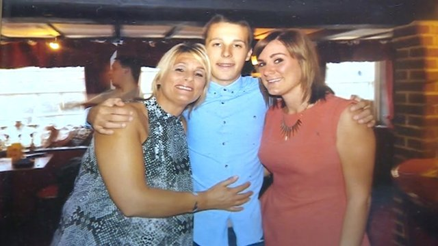 Daniel with his mother and sister