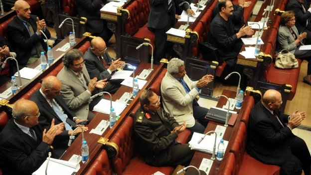 Members of the Egyptian constituent assembly inside the Shura Council (1 December 2013)