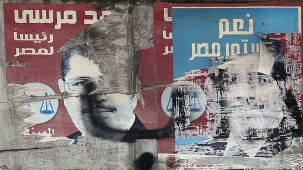 "Remnants of posters of ousted President Mohammed Morsi and another saying ""Yes to the constitution of Egypt to build our country"" in Cairo (2 December 2013)"